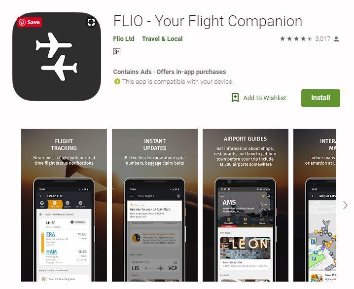 Flio travel app screenshot